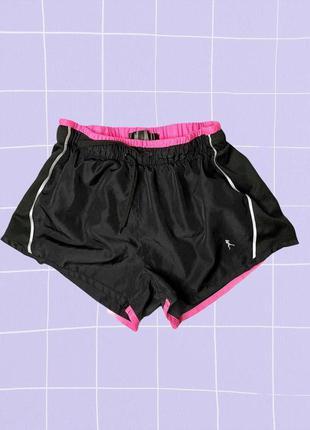 Розово-черные короткие спортивные шорты