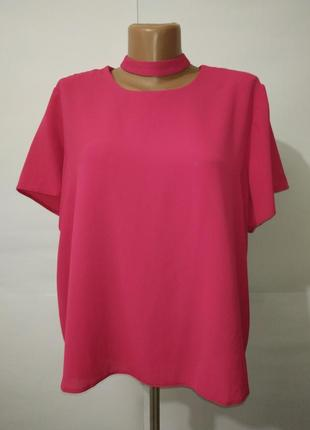 Блуза розовая новая стильная с чекером atmosphere uk 16/44/xl
