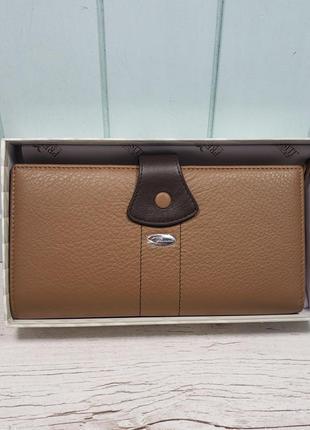 Женский кожаный кошелек на кнопке коричневый prensiti