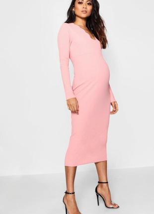 Нежное платье миди для беременных и не только от boohoo