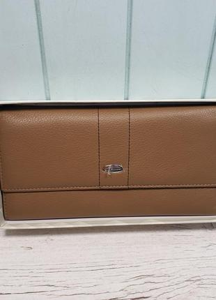 Женский кожаный кошелёк на кнопке коричневый prensiti