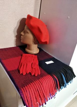Комплект шарф-палантин и берет тonak чехия перчатки