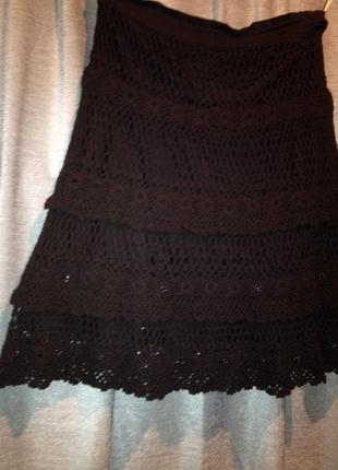 Оригинальная вязанная юбка.047
