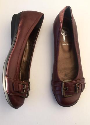 Кожаные балетки/ туфли bata 36 размер, натуральная кожа, корич...