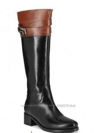 Черные кожаные сапоги деми бренд -tommy hilfigtr--38р