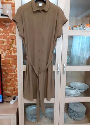 Бомбезное вискозное платье рубашка большого размера
