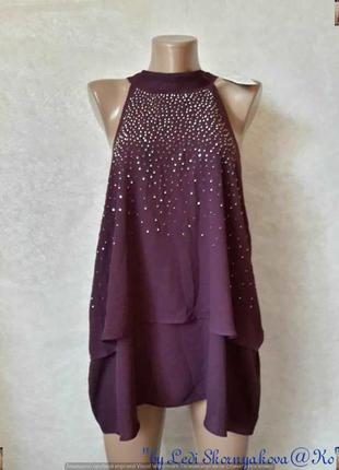 Фирменная f&f с биркой нарядная блуза в цвете фиолет с украшен...