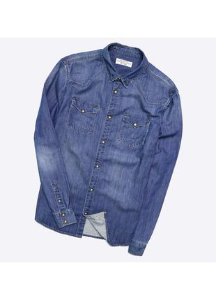 Allsaints xl / мужская плотная джинсовая рубашка на кнопках