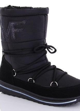 Женские зимние черные сапоги дутики со шнуровкой молния сзади ...