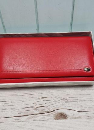 Женский кожаный кошелёк на кнопке красный prensiti жіночий шкі...