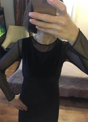 Велюровое бархатное платье-сарафан benetton
