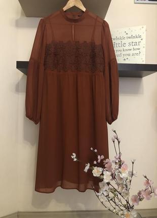 Очень классное шифоновое платье с кружевом, платье двойка