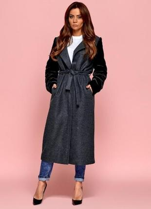 Пальто халат рукава из эко-меха
