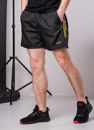 Мужские черные спортивные шорты плащевка