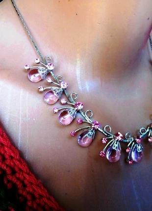Изысканное ожерелье и серьги под серебро с кристаллами комплек...