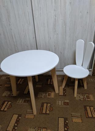 Детский круглый столик  и стульчик зайка ,  белый + дерево