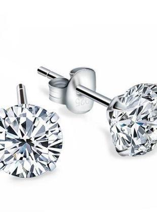 Воздики пусеты с бриллиантами -цирконий серебряные серьги