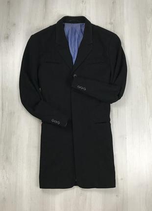F9 пальто длинное полушерстяное приталенное черное темное lond...
