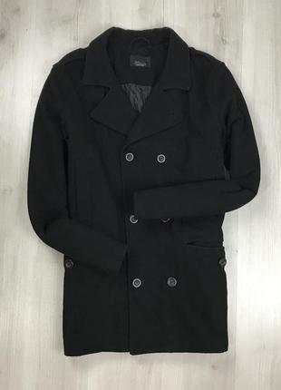 F9 пальто длинное полушерстяное приталенное черное двубортное ...