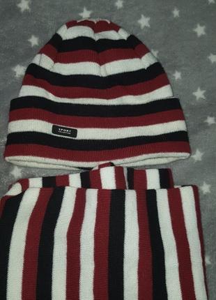 Теплая шапка с шарфом детская 3-5 лет