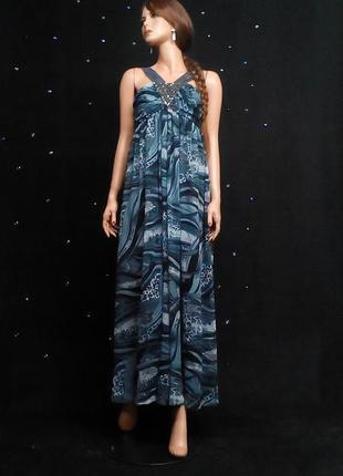Шифоновое макси платье комбинированное джинсом