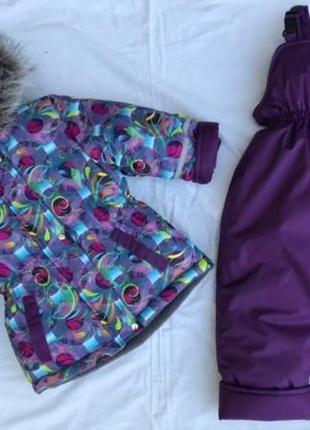 Зимний комбинезон костюм для девочки, термо с биркми и лейбами