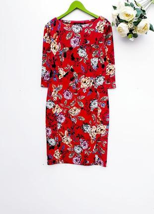 Шикарное платье миди праздничное платье в цветы