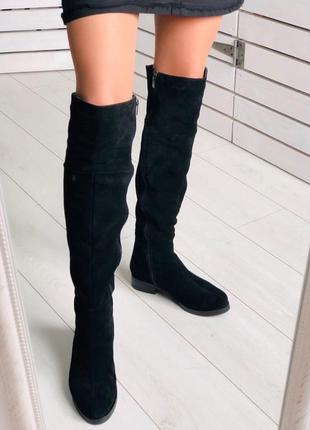 Lux обувь! кожаные замшевые зимние высокие сапоги ботфорты на ...