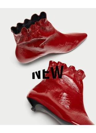 Натуральная кожа лаковые красные ботинки на невысоком каблуке ...