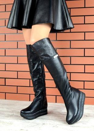 Натуральная кожа. эффектные зимние кожаные сапоги ботфорты на ...
