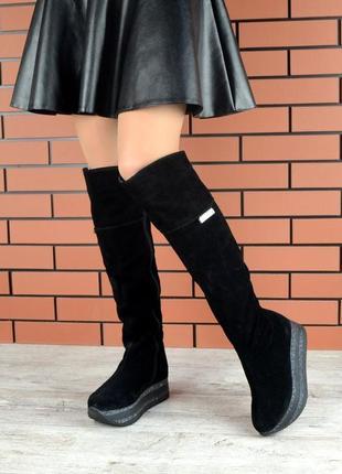 Натуральная замша. эффектные зимние кожаные сапоги ботфорты на...
