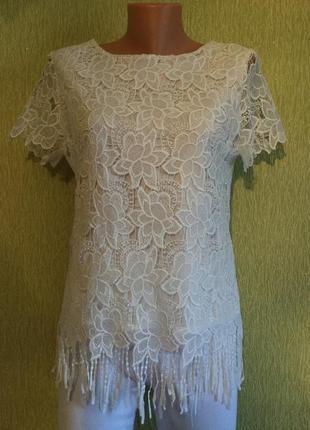Блузка белая ажурная sg размер 10