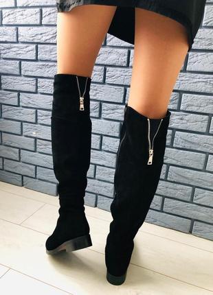 Lux обувь! натуральные замшевые зимние кожаные ботфорты сапоги