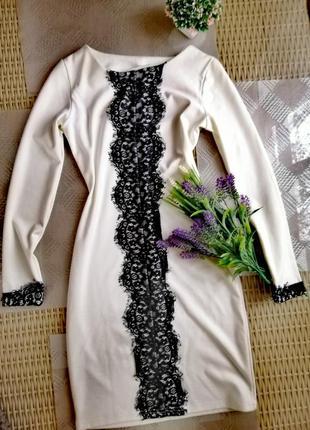 Красивое белое платье миди с кружевом