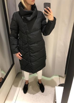 Удлинённая стёганная куртка тёплое пальто. reserved. размеры у...