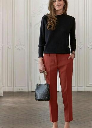 Супер стильные укороченные брюки терракотового цвета
