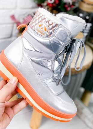 ❤ женские серебристые зимние дутики ботинки сапоги полусапожки...