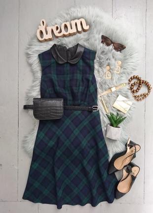 Оригинальное платье в клетку с кожаным воротничком №43max