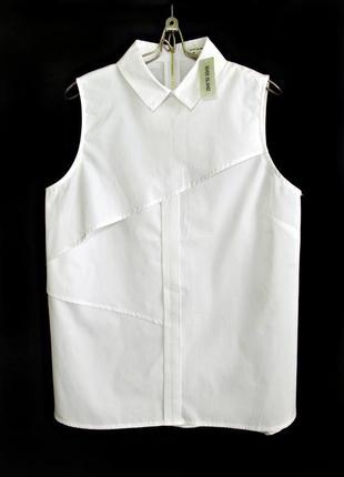 Модная белая блуза-рубашка с воротником р.12