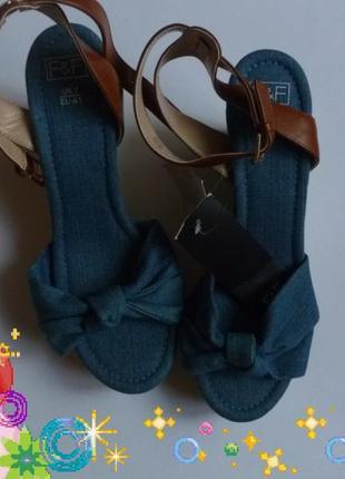 Босоножки джинсовые f&f