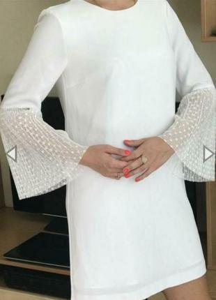 Красивое белое платье zara размер 30