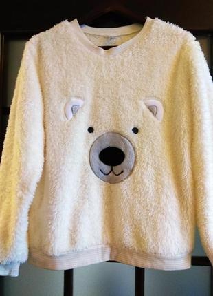Мягкий пушистый и теплый домашний костюм, пижама с брюками