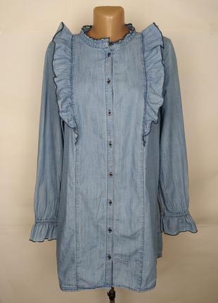 Платье рубашка стильное из тонкого денима с рюшами tu uk 16/44/xl