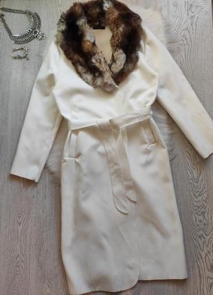 Белое натуральное шерсть длинное пальто оверсайз на запах с по...