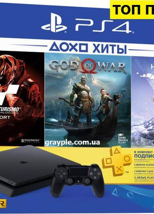 PlayStation 4 Slim 1Tb Rus Black Bundle (CUH-2208B) + 3 Игры Хита