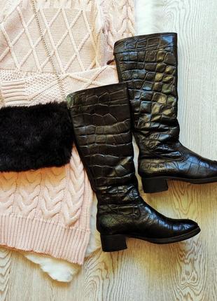 Черные высокие зимние натуральные кожаные сапоги до колена под...