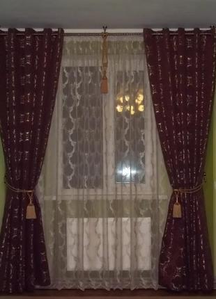 Шикарные шторы портьеры на люверсах индийская ткань парча