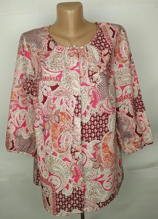 Блуза хлопковая красивая в орнамент marks&spencer uk 16/44/xl