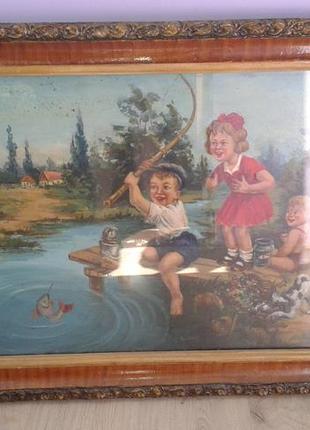 """Картина """"дети на рыбалке""""(середина прошлого века)ссср"""