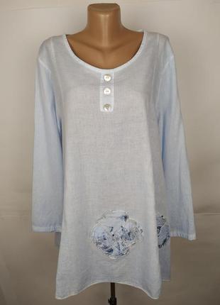 Блуза голубая итальянская хлопковая красивая uk 14/42/l